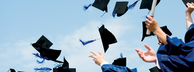 Helping Your Child Choose a College | Graduates toss their caps in the air.
