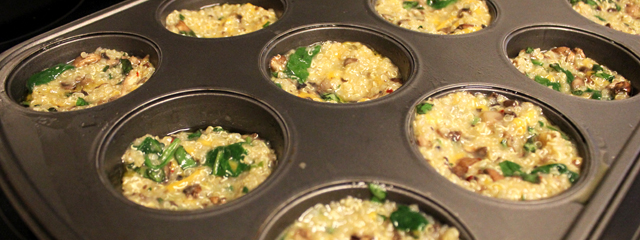 The quinoa pizza bites in the muffin tin ready to go into the oven.