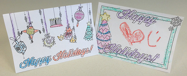 "DIY Activity: Holiday Cards – Free Download | Two ""happy holidays"" cards colored by children. Click this image and print for the free download."