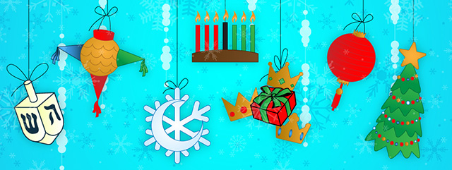 A Lesson for Each Holiday | An illustration depicting a dreidel, pointed start piñata, Kwanzaa candles, Christmas tree, and more.