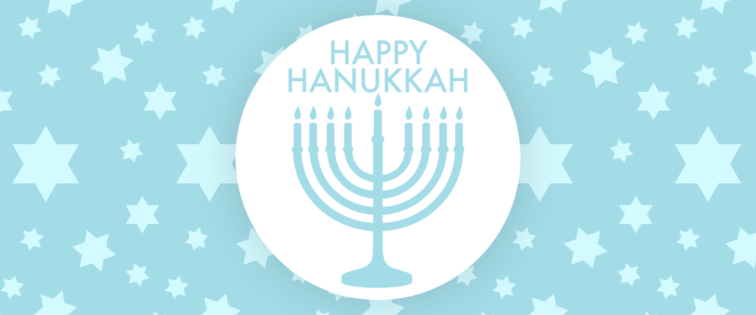 Happy Hanukkah! Happy Hanukkah graphic with a menorah.