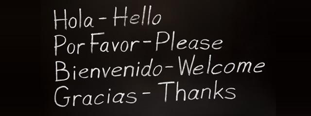 Hola- Hello, Por Favor- Please, Bienvenido- Welcome, Gracias- Thank you