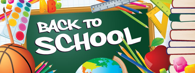 Back to School Shopping Tips and Ideas | Back to School graphic with painting palettes, colored pencils, rulers, and basketballs.