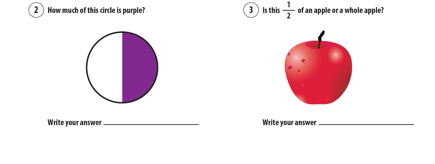 2. How much of this circle is purple? 3. Is this half of an apple or a whole apple?