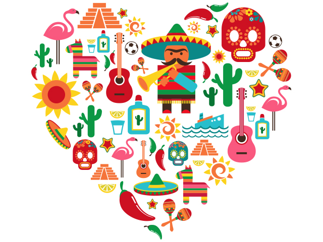 An illustration in the shape of a heart features piñatas, cacti, guitars, peppers, Mayan pyramids, and more cultural images of Mexico.
