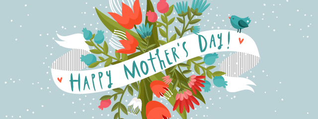 "A ""Happy Mother's Day"" banner surrounds a bouquet of red, pink, and blue flowers."