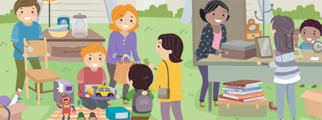 Yard Sale Life Lessons | Yard sale season is in full swing. You may be aware that yard sales are an excellent way to get bargains, but did you know that they are also a great avenue for teaching your child valuable life lessons? | The graphic shows parents and kids hosting and attending a yard sale.