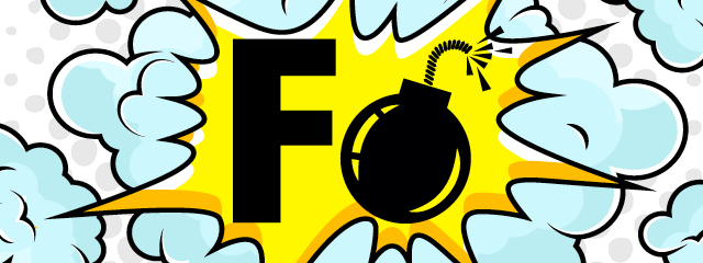 Swearing is More Than a Language Issue | A cartoon graphic shows an F and a bomb.