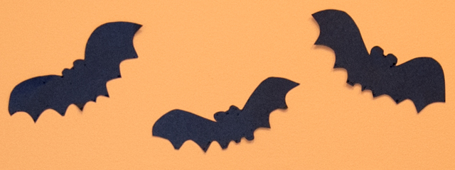 DIY: Spooky Halloween Projects on a Budget | black bat cutouts line an orange wall
