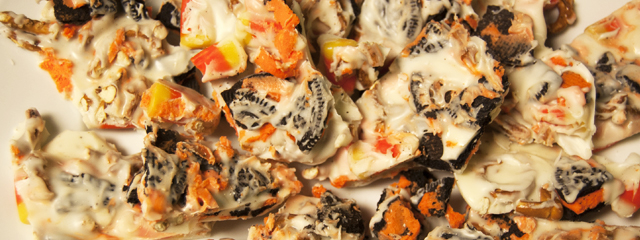 DIY: Spooky Halloween Projects on a Budget | Halloween cookie and candy white chocolate bark