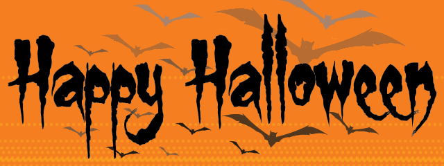 Halloween Movies for All Ages | Happy Halloween image with bats in on an orange background.