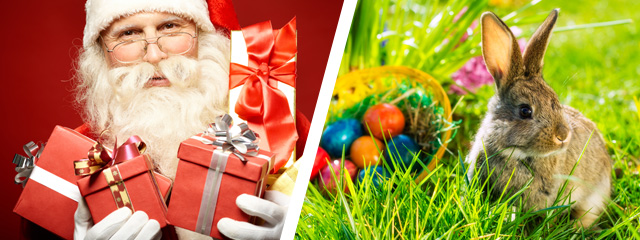 Santa holds a lot of wrapped Christmas gifts on the left side of the image, while on the right side, a bunny sits beside an Easter basket filled with eggs on the grass