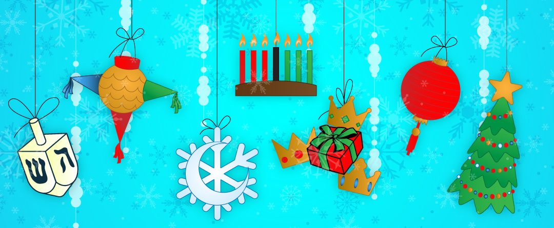 7 Cultural Winter Festivities to Explore | A dreidel, star piñata, a moon and snowflake, three crowns and a wrapped gift, a red lantern, and a Christmas tree