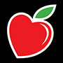 A heart-shaped apple logo.