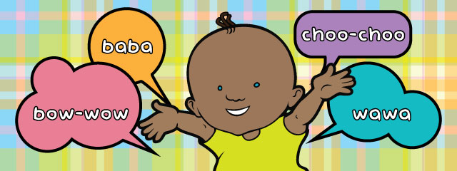 "A baby with talk bubbles says, ""bow-wow,"" ""baba,"" ""choo-choo,"" and ""wawa"""