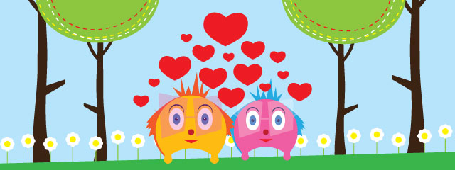 Cartoon characters stand in a meadow with hearts around them.