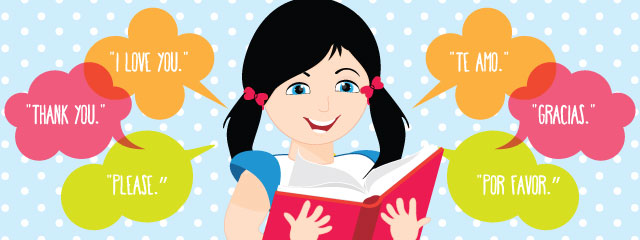 How to raise a bilingual child | A girl reads from a book, with English and Spanish phrases illustrated as coming out of the book.