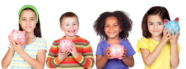 Children with piggy banks